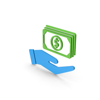 Symbol Banknotes In Hand Blue Green PNG & PSD Images