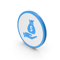 Icon Money Bag In Hand Blue PNG & PSD Images
