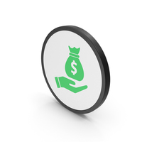 Icon Money Bag In Hand Green PNG & PSD Images