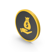 Icon Money Bag In Hand Yellow PNG & PSD Images