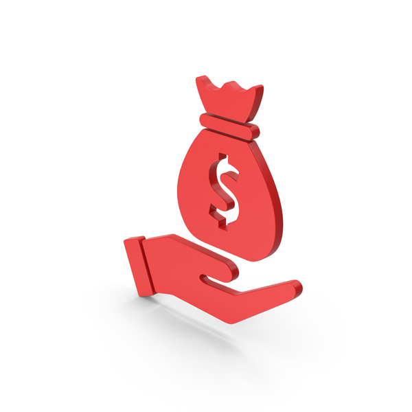 Symbol Money Bag In Hand Red PNG & PSD Images
