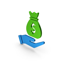 Money Bag In Hand Green Blue Metallic PNG & PSD Images