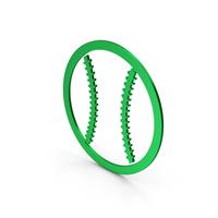 Symbol Baseball Green Metallic PNG & PSD Images