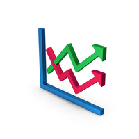 Graph Chart Arrows Colored Metallic PNG & PSD Images