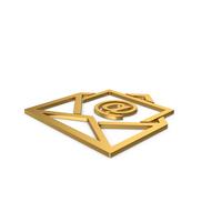 Gold Symbol Email Envelope PNG & PSD Images