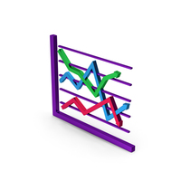 Symbol Graph Chart Colored Metallic PNG & PSD Images