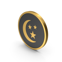 Gold Icon Moon With Stars PNG & PSD Images