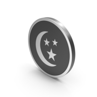 Silver Icon Moon With Stars PNG & PSD Images