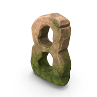 Number 8 Mossy Stone Stylized PNG & PSD Images