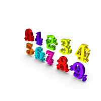 Multi Color Numbers Shiny PNG & PSD Images