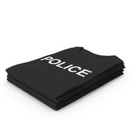 Female Crew Neck Folded Stacked Black Police PNG & PSD Images