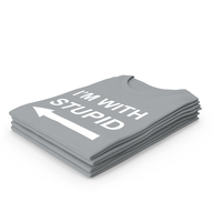 Female Crew Neck Folded Stacked Gray Im With Stupid PNG & PSD Images