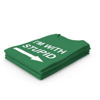 Female Crew Neck Folded Stacked Green Im With Stupid PNG & PSD Images