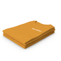 Female Crew Neck Folded Stacked Orange Delivery PNG & PSD Images