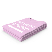 Female Crew Neck Folded Stacked Pink Im With Stupid PNG & PSD Images