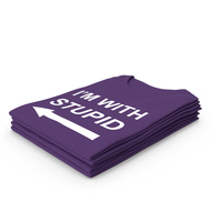 Female Crew Neck Folded Stacked Purple I'm With Stupid PNG & PSD Images