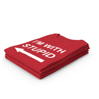 Female Crew Neck Folded Stacked Red I'm With Stupid PNG & PSD Images