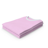 Female Crew Neck Folded Stacked White and Pink PNG & PSD Images