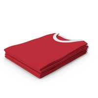 Female Crew Neck Folded Stacked White and Red PNG & PSD Images