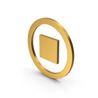 Symbol Stop Button Gold PNG & PSD Images