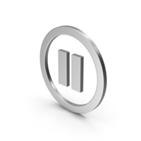 Symbol Pause Button Silver PNG & PSD Images