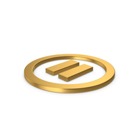 Gold Symbol Pause Button PNG & PSD Images