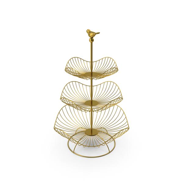 3 Tier Metal Fruit Basket PNG & PSD Images