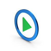 Play Button Blue Green Metallic PNG & PSD Images