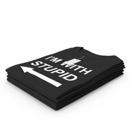 Female Crew Neck Folded Stacked With Tag Black Im With Stupid PNG & PSD Images
