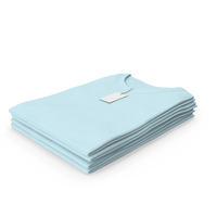 Female Crew Neck Folded Stacked With Tag Blue PNG & PSD Images