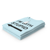 Female Crew Neck Folded Stacked With Tag Blue Im With Stupid PNG & PSD Images
