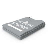 Female Crew Neck Folded Stacked With Tag Gray Im With Stupid PNG & PSD Images