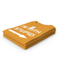 Female Crew Neck Folded Stacked With Tag Orange Im With Stupid PNG & PSD Images