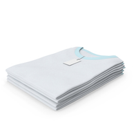 Female Crew Neck Folded Stacked With Tag White and Blue PNG & PSD Images