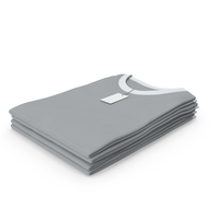 Female Crew Neck Folded Stacked With Tag White and Gray PNG & PSD Images