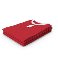 Female Crew Neck Folded Stacked With Tag White and Red PNG & PSD Images