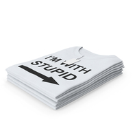 Female Crew Neck Folded Stacked With Tag White Im With Stupid PNG & PSD Images