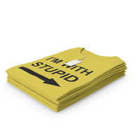 Female Crew Neck Folded Stacked With Tag Yellow Im With Stupid PNG & PSD Images