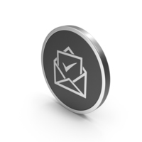 Silver Icon Envelope With Check Mark PNG & PSD Images