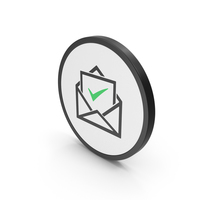 Icon Envelope With Check Mark Green PNG & PSD Images