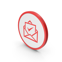 Icon Envelope With Check Mark Red PNG & PSD Images
