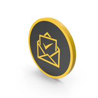 Icon Envelope With Check Mark Yellow PNG & PSD Images