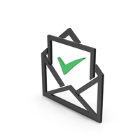 Symbol Envelope With Check Mark Green PNG & PSD Images