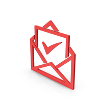 Symbol Envelope With Check Mark Red PNG & PSD Images