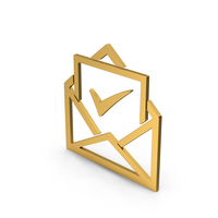 Symbol Envelope With Check Mark Gold PNG & PSD Images