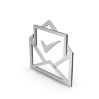 Symbol Envelope With Check Mark Silver PNG & PSD Images
