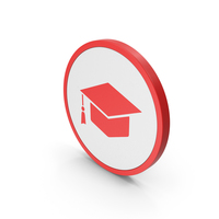 Icon Graduation Hat Red PNG & PSD Images