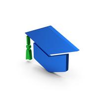 Graduation Hat Blue Metallic PNG & PSD Images