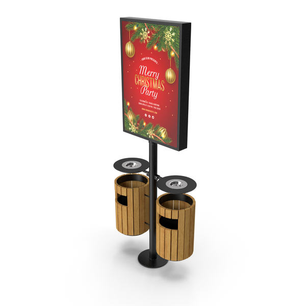 Trash Can with Advertising Light Box PNG & PSD Images