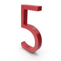 Number 5 Red PNG & PSD Images